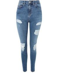 Topshop Moto Mid Blue Super Rip Jamie Jeans