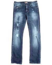 MSGM Destroyed Stretch Cotton Denim Jeans