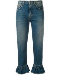 MSGM Ruffled Hem Cropped Jeans