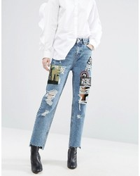 Asos Original Mom Jeans With Badges