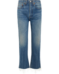 RE/DONE Originals High Rise Stove Pipe Straight Leg Jeans Blue
