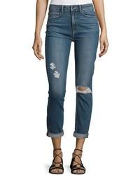 Paige Denim Carter Slim Leg Harvey Destructed Jeans Blue