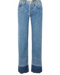 Loewe Paulas Ibiza Twill Paneled Mid Rise Straight Leg Jeans