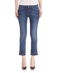 Set Raw Edge Cropped Jeans