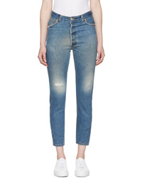 RE/DONE Re Done Blue High Rise Ankle Crop Jeans