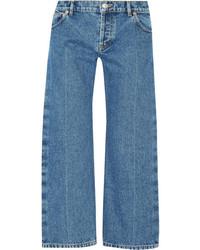 Balenciaga Rockabilly Cropped Low Rise Wide Leg Jeans Light Denim