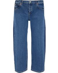 Balenciaga Rockabilly Cropped Mid Rise Wide Leg Jeans Indigo