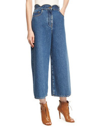 Valentino Scalloped High Waist Cropped Wide Leg Jeans Light Blue