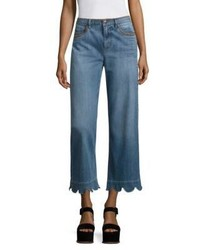 RED Valentino Scalloped Wide Leg Jeans
