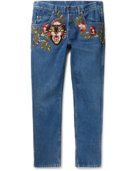 Gucci Slim Fit Embroidered Denim Jeans