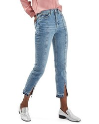 Topshop Split Hem Straight Leg Jeans