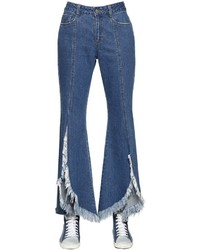 SteveJ & YoniP Front Slit Frayed Cotton Denim Jeans