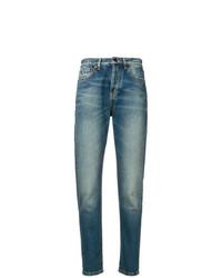 Saint Laurent Stonewashed Slim High Rise Jeans