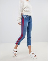 Only Straight Leg Crop Jean With Sports Stripe