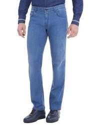 Stefano Ricci Straight Leg Denim Jeans Light Wash Blue