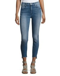 Mother Stunner Zip Ankle Step Fray Jeans Blue