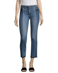 Paige Taylor Pieced Raw Edge Straight Leg Jeans