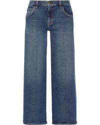 Current/Elliott The Wide Leg Crop Mid Rise Jeans Dark Denim