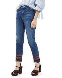 Topshop Embroidered Pompom Jeans
