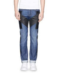 Givenchy Waxed Stripe Panel Cotton Jeans