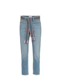 Mira Mikati Woven Belt Cropped Slim Jeans
