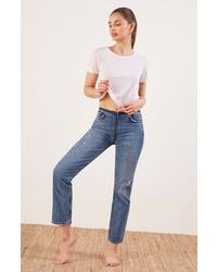 Reformation Zip Crop Straight Leg Jeans