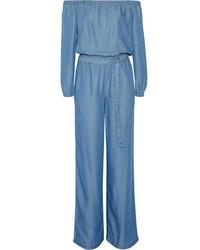 MICHAEL Michael Kors Michl Michl Kors Off The Shoulder Chambray Jumpsuit Blue