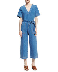 Mih hart deep v all in one jumpsuit blue medium 3714590