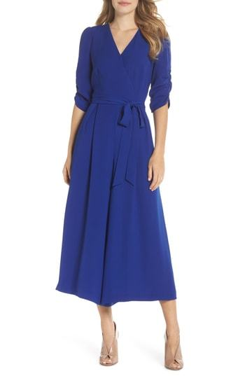 75d9628cc8b Ruched Sleeve Wide Leg Jumpsuit. Blue Jumpsuit by Eliza J