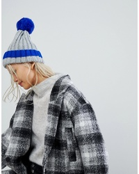 Brave Soul D Ribbed Hat With Faux Pom And Contrast Tipping In Electric Blue