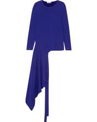 Balenciaga Asymmetric Stretch Knit Wrap Top Cobalt Blue