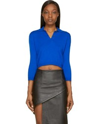 Vetets blue cropped polo sweater medium 175945