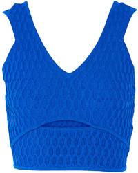 Cutout honeycomb stretch knit top medium 285584