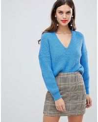 ASOS DESIGN V Neck Jumper In Moving Rib