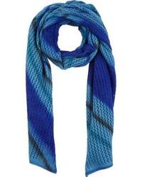 Gp Blue Stripe Open Knit Scarf Blue