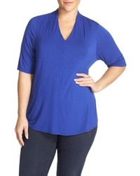 Sejour Plus Size Pleat Shoulder Stretch Knit Tee