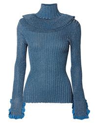 Chloé Ruffled Metallic Ribbed Knit Silk Blend Turtleneck Sweater