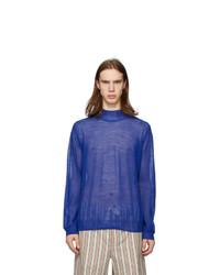 Blue Knit Wool Turtleneck