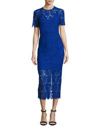 Diane von Furstenberg Short Sleeve Tailored Overlay Midi Dress