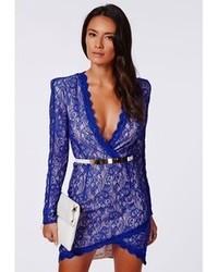 ed07051bc5f ... Missguided Nikhila Eyelash Lace Wrap Over Mini Dress In Cobalt Blue