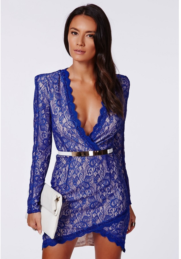 Missguided Nikhila Eyelash Lace Wrap Over Mini Dress In Cobalt Blue ...