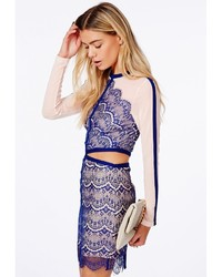 f2c18141ea041 Missguided Rosario Cobalt Blue Cut Out Lace Panel Mini Dress, $69 ...