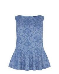 New Look Inspire Blue Baroque Print Jacquard Peplum Top