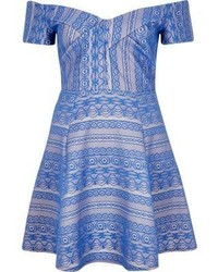 Blue print bardot skater dress medium 647596