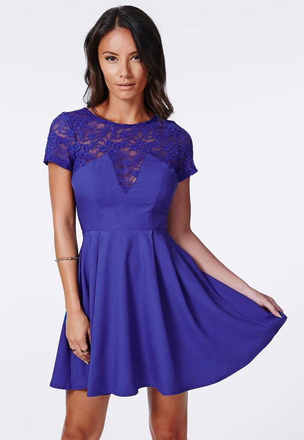 Missguided Erenie Lace Skater Dress Cobalt Blue | Where to buy ...