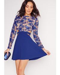 Missguided premium lace top cut out skater dress cobalt medium 647594