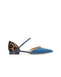 Jennifer Chamandi Sky Blue Eric Leopard Print Leather Pumps