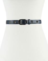 Neiman Marcus 25mm Grommet Faux Leather Belt Navy