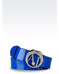 Armani Jeans Belt In Faux Patent Leather