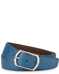 Simonnot Godard Reversible Leather Belt Brownblue